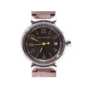 Louis Vuitton Tambour Brown Dial Q 1211 Ladies' SS / Leather Quartz Wrist Watch LOUIS VUITTON Box Used Ginza