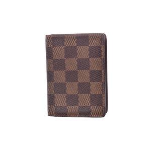 Louis Vuitton Damier Pass Case Brown N 60533 Men's Women's Genuine Leather Card B Rank LOUIS VUITTON Used Ginza