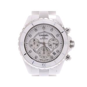 シャネル J12 クロノ 白文字盤 9Pダイヤ H2009 メンズ 白セラミック 自動巻 腕時計 Aランク 美品 CHANEL 中古 銀蔵