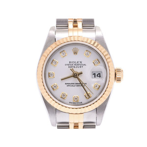 Rolex Datejust White dial 79173G F Ladies YG / SS 10P diamond automatic watch A rank beautiful goods ROLEX box gala second hand silver storage