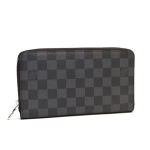 Louis Vuitton Damier Graphite Zippy Organizer NM Unisex Damier Graphite Wallet Black