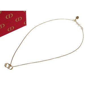 Christian Dior CD Logo Stone Gold Necklace Accessory 0052 Women's