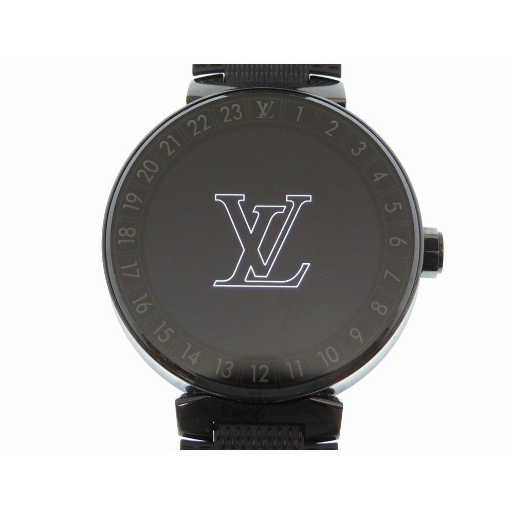 Louis Vuitton Tambour Horizon Smart Watch QA 002 Z SS Rubber Damier Pattern Black LV 0207 LOUIS VUITTON Men