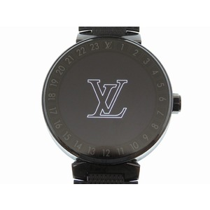Louis Vuitton Tambour Horizon Smart Watch QA 002 Z SS Rubber Damier Pattern Black LV 0207 LOUIS VUITTON Men