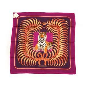 Hermes Carre 70 Tiger's Tiger TIGRE ROYAL Silk 100% Purple 0084 HERMES