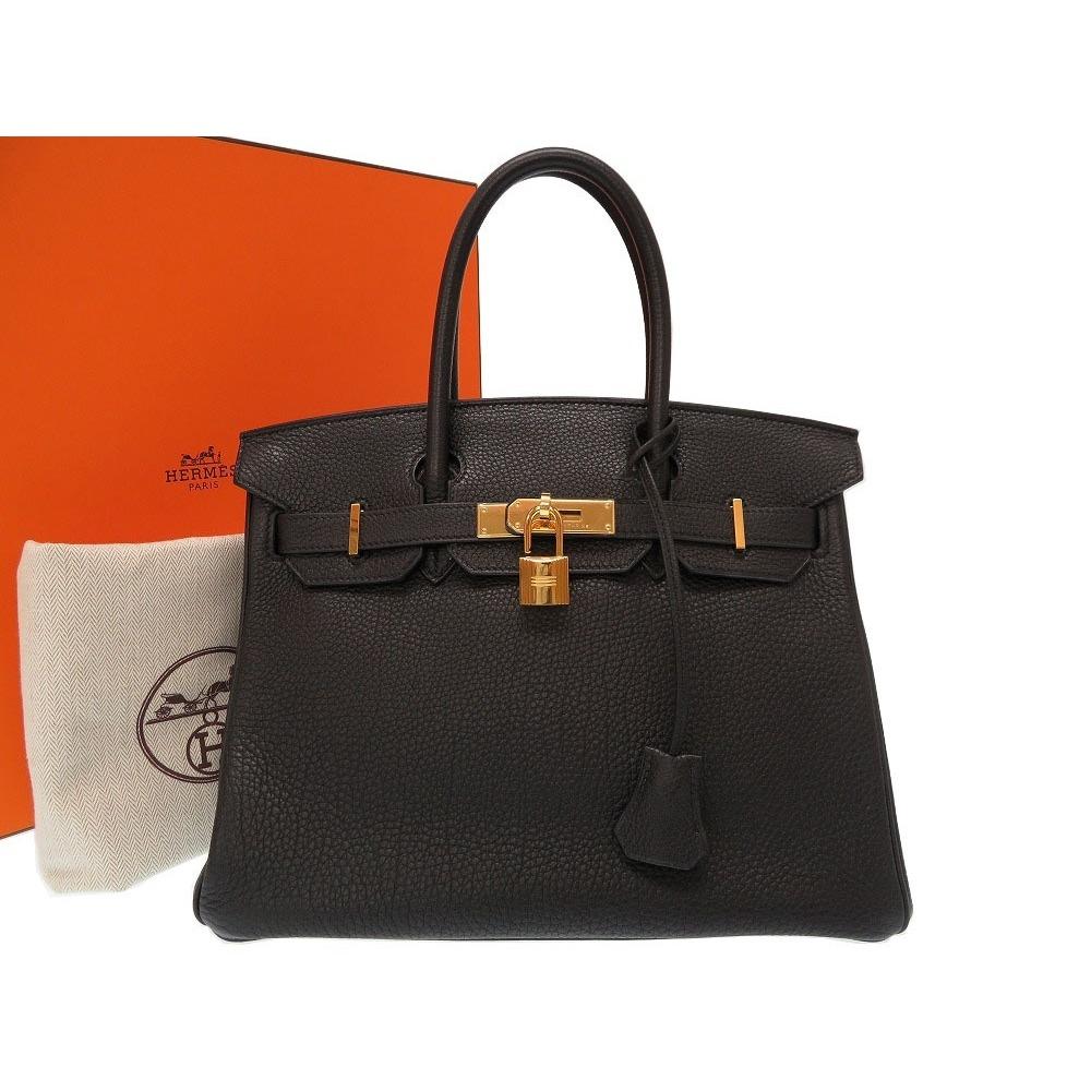 fd3b8b44bcd Hermes Birkin 30 Togo Black Gold Hardware □ M Engraved Handbag Bag 0193  HERMES