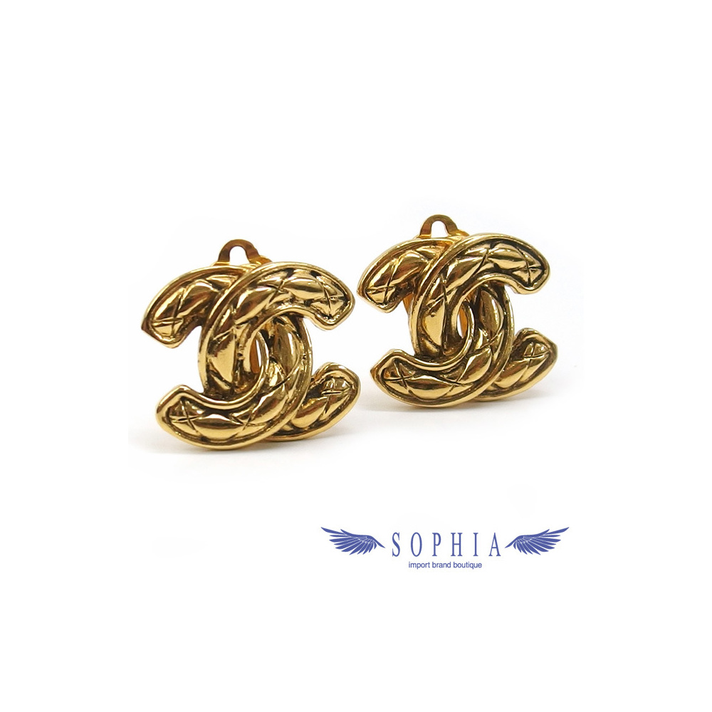 Chanel Matrasse pattern Coco mark earrings vintage 20190122