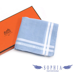 Hermes handkerchief light blue x white 20190203
