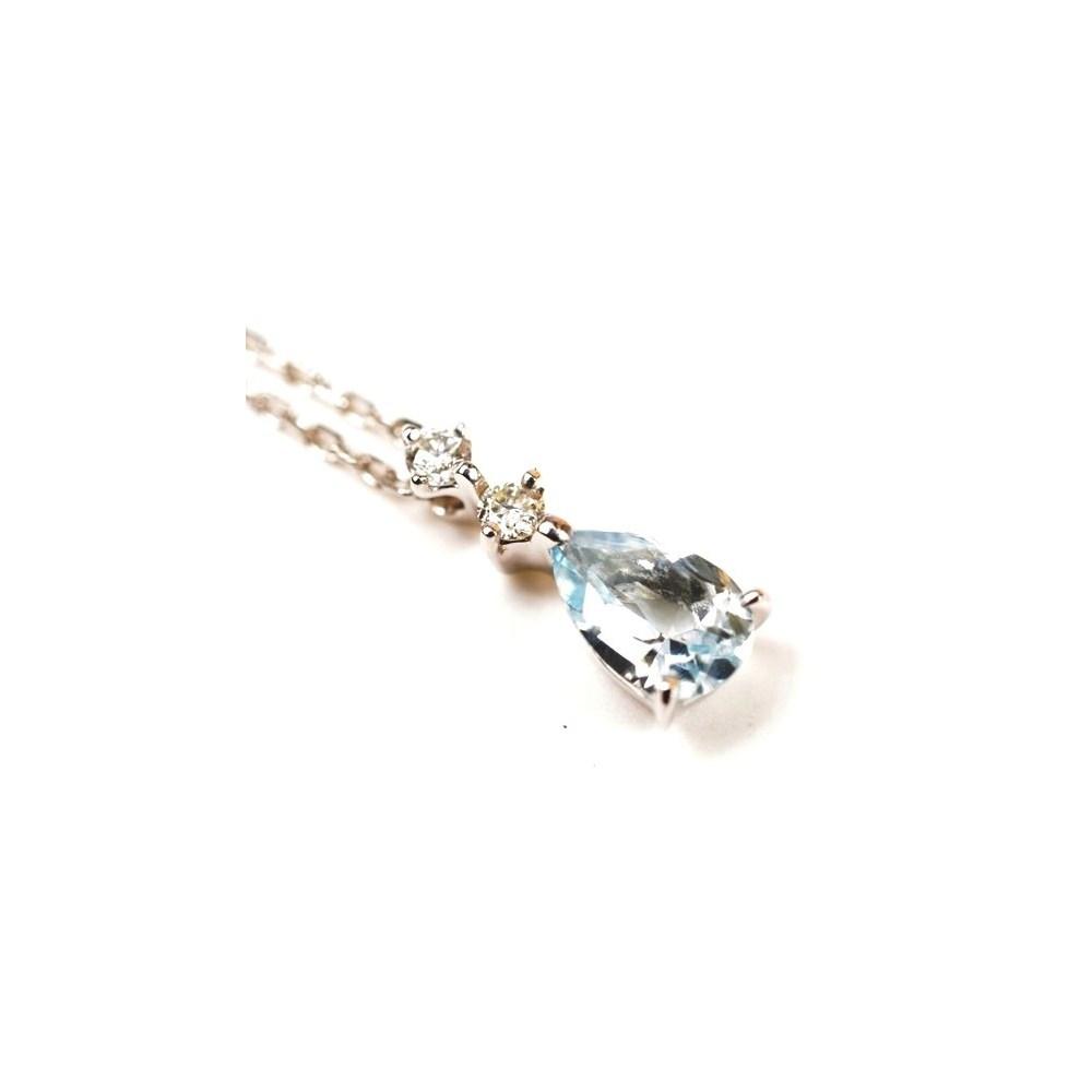 ヨンドシィ(4°C) K10WG(ホワイトゴールド) アクアマリン レディース エレガント ペンダント (ホワイトゴールド(WG)) 副石ダイヤモンド