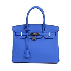 HERMES Birkin 30 Togo Blue Jelly Silver Hardware C Instruction Handbag Women's