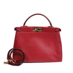 Fendi FENDI Peekaboo 8 BN 226 Calfskin Red Handbag Women's