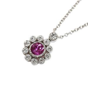Tiffany TIFFANY & CO Enchanted Flower Pendant Platinum Diamond Pink Sapphire Ladies Necklace Jewelry Finished