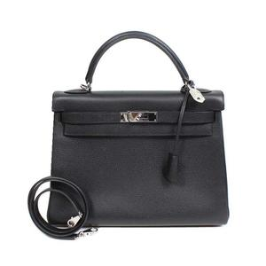 HERMES Kelly 32 noir silver fittings Epson □ J eraser handbag ladies