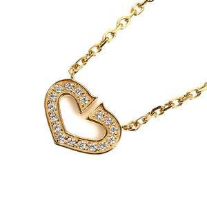 Cartier C Heart Necklace K18YG Diamond Ladies Pendant Jewelry Finished