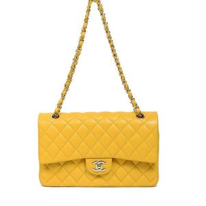 Chanel CHANEL Matrasse 25 W Flap Chain Shoulder Bag Caviar Skin Yellow Womens