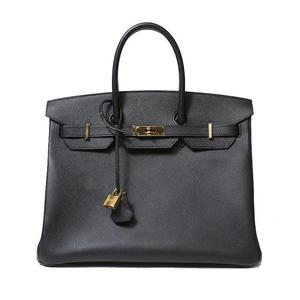 HERMES Birkin 35 Vaud-Epson Black Gold Hardware C Instruction Handbag Women's