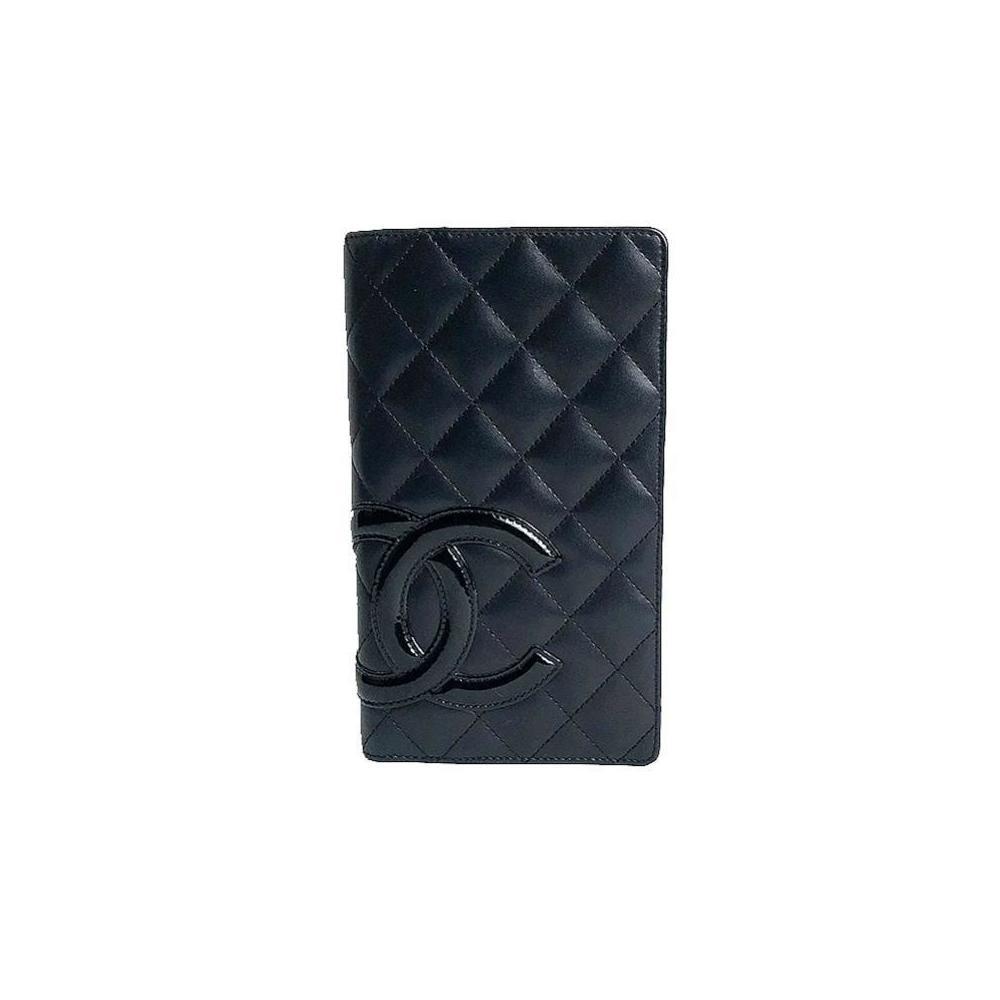 Chanel CHANEL Kanbon line folding wallet A26717 Calfskin black ladies