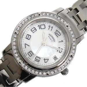 HERMES clipper CP1.230 quartz diamond bezel shell ladies watch finished
