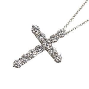 Tiffany & CO Cross Pendant Large Platinum Diamond Ladies Necklace Jewelry Finished