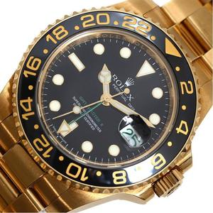 ROLEX GMT Master 2 116718LN Automatic winding gold pure stick dial D number black men's watch rare item