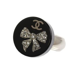Chanel CHANEL Coco Mark Ribbon Ring Rhinestone Women's Accessory