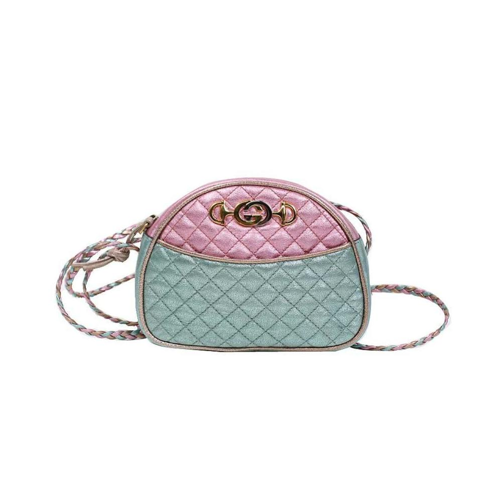 6cf10b835 Gucci GUCCI Laminated quilting leather mini bag 534951 pink × blue ...