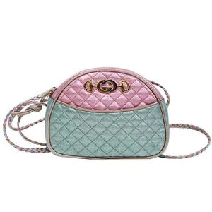 Gucci GUCCI Laminated quilting leather mini bag 534951 pink × blue