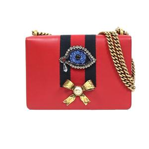 Gucci GUCCI chain shoulder bag 432280 red × navy calf leather women's