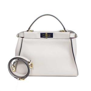 Fendi FENDI Peek-boo 8BN290 Calf-light gray shoulder bag Women's
