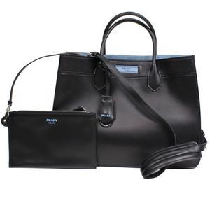Prada PRADA Dual Bag 2 WAY 1 BA 176 Calf NERO / ASTRALE Women's