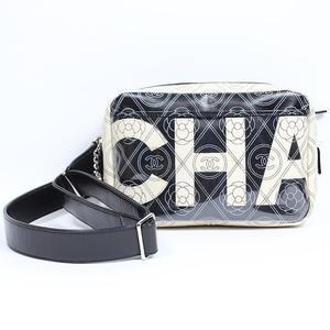 Chanel CHANEL Camera Bag Camellia Calf PVC Black Ivory Womens