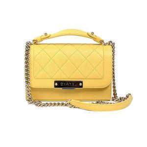 Chanel CHANEL Matrasse 2 Way Shoulder Bag A 93702 Calfskin Yellow Gold Hardware Handbag Women's