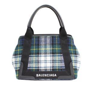 Balenciaga BALENCIAGA Navy Cabas S 339933 Green Check Handbag