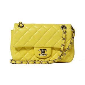 Chanel CHANEL Matrasse W Flap Chain Shoulder Calfskin Yellow Women's