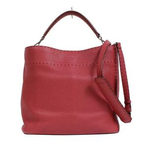 Fendi FENDI Celia Anna 8BT 216 Red leather shoulder bag Women's