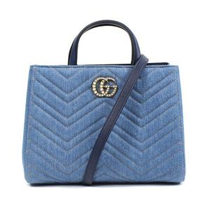 Gucci GUCCI GG Mermont 448054 Denim Blue Handbag Women's