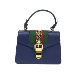 Gucci GUCCI Silvie Mini Bag 470270 Leather Navy Shoulder Women's