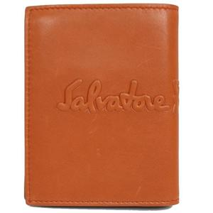 Salvatore Ferragamo 2 fold wallet 660686 Orange × dark brown men's