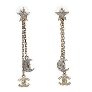 Chanel CHANEL Kokomaku Swing Earrings Rhinestone Moon Star Ladies Accessories