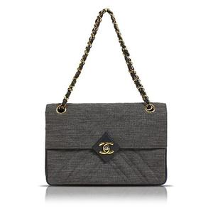 Chanel CHANEL Chain Shoulder Bag Gray Gold Hardware Cotton Jersey Women's