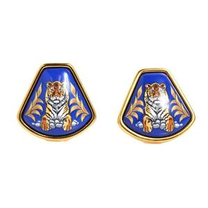 HERMES Hermes Emaille Earrings Cloisonne Tiger Blue Women's Accessories
