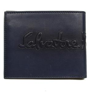 Salvatore Ferragamo Double Fold Wallet 660682 Navy × Moss Green Mens