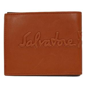 Salvatore Ferragamo 2 fold wallet 660682 Orange × dark brown Men's