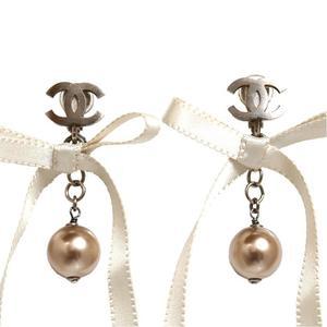 Chanel CHANEL Coco Mark Ribbon Earrings Women's Accessories Jewelry