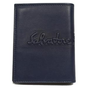 Salvatore Ferragamo 2 fold wallet 660686 Navy × Moss green men's