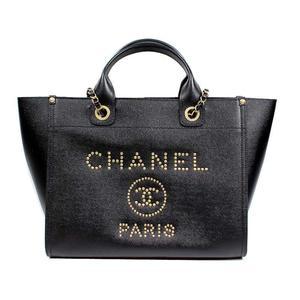 Chanel CHANEL Deauville chain shoulder tote bag A 57069 caviar skin noir