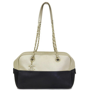 Genuine CHANEL Chanel calf chain shoulder by color black gold 23 series bag leather