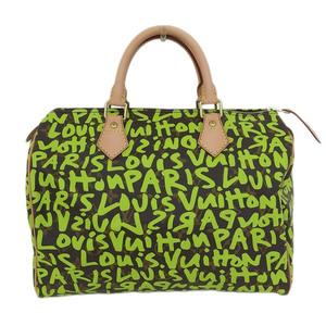 Real LOUIS VUITTON Louis Vuitton Monogram Graffiti Speedy 30 Veil Yellow Green M93706 Bag Leather