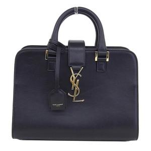 Real SAINT LAURENT Saint Laurent Paris 2 Way Hand Baby Cabas Black 472466 Shoulder Bag Leather