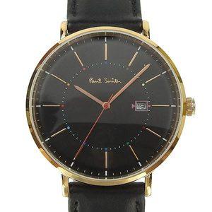 Real PAUL SMITH Paul Smith Mens Quartz Wrist Watch Datele Leather Belt Black Case